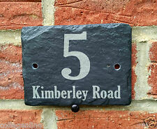 Personalised Natural Slate House Name Door Gate Number Sign Oval Plaque 10x15cm