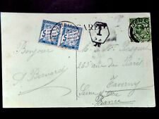 Jersey 1912 to France underpaid with Hexagonal JE & 2 x 5c French Due stamp