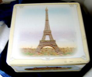 Eiffel Tower Biscuit Cookie Tin Box Storage Paris France