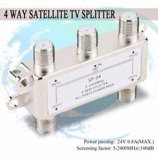 4 Way Satellite/Antenna/Cable TV Splitter Distributor 5-2400MHz F Type gl