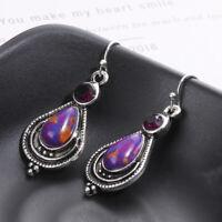 Boho Crystal Fashion Jewelry Purple Turquoise Earrings 925 Silver Hook Dangle