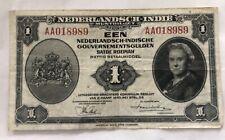 1943 NEDERLANDSCH-INDIE 1 GULDEN BANKNOTE NETHERLANDS American WW2 Very Fine
