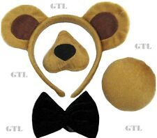 Unisex Bear Set natività orecchie naso Tail fiocco + Suono Adulto FANCY DRESS ACCESSORIO