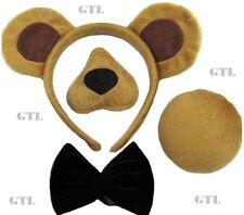 BEAR SET EARS ON HEADBAND NOSE TAIL BOW + SOUND ANIMAL CHRISTMAS FANCY DRESS