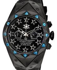 Watchstar Automatic Chronograph 49mm Sky Blue Swarovski Stealth Jet Black Watch