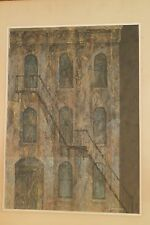 City Portrait-Tenement Building & Fire Escape Painting-1965-William Gorman