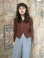 1940s 40s Vintage Loop Collar Deep Rust Crepe Rayon Blouse