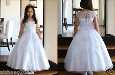 First Communion Dresses White Lace Sheer-neck Flower Girl Dresses for Wedding