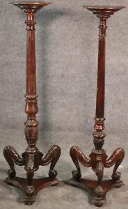 Near Pair, English Carved Mahogany Georgian Fluted Claw Foot Candle Stands