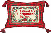 "PILLOWS - ""ALL I WANT FOR CHRISTMAS"" PILLOW - PETIT-POINT CHRISTMAS PILLOW"