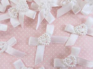 "50 Pearl Heart White Satin Ribbon Bow 1"" Applique/Wedding/Trim/Craft/Sewing F68"