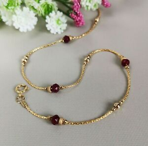 ANKLET red RUBY Ankle Bracelet 14k Gold Chain 10'' Birthstone Anniversary
