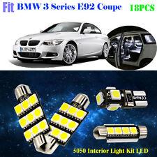18Pcs 5050 LED Xenon White 6K Interior Light Kit Fit For BMW 3 Series E92 Coupe
