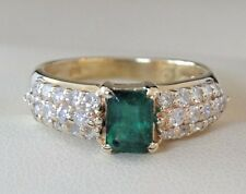 BH for Effy 14K Yellow Gold Natural Emerald Diamond Ring Size 7 1/2