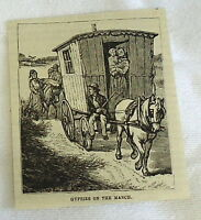 small 1882 magazine engraving ~ GYPSIES ON THE MARCH