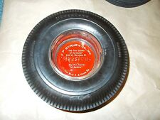 FIRESTONE TIRE ASHTRAY DELUXE CHAMPION GUM DIPPED - USA - GLASS & RUBBER HEAVY!