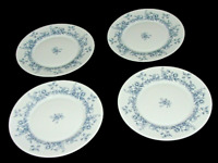 Four Arcopal China Salad Plates White Blue Floral France Replacement Pieces