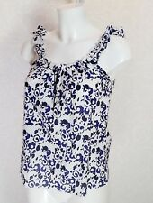 TOPSHOP Petite Cotton navy blue white floral Ruffle Frill sleeve strappy Cami 10