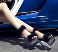 Women's High Heels Stiletto Open Toe Shoes Faux Fur Pole Dance Platform Sandals