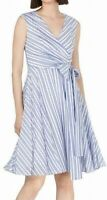 Calvin Klein Womens Dress Blue Size 14 A-Line Fit & Flare Striped $125- 198