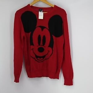 Mickey Mouse Red Crew Neck Knit Sweater By Disney