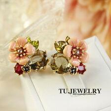 Earrings Class Studs Gold Plated Pink Enamel Flower Green Leaves Fine L6