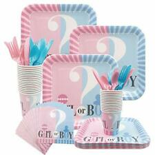 Amycute Gender Reveal Party Supplies for 16 Guests, Baby Shower Plates Cups
