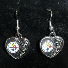 NEW Pittsburgh Steelers Antiqued Scrolled Heart Dangle Earrings