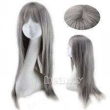 Long Cosplay Wig Yurisa  Harajuku Lolita Straight Smoke Dark Grey Gradient Wig