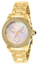 Invicta Women's Watch Angel Quartz White Mop Dial Yellow Gold Bracelet 28481