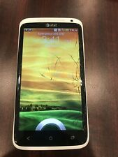 White Cracked Android HTC One X PJ83100 Cell Phone 16GB Smartphone Att 4g