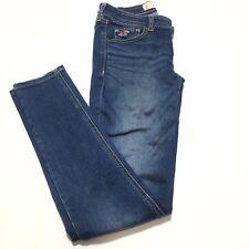 HOLISTER WOMEN Skinny Jean Sz 26x29 Medi Wash Blue denim jeggings stretch-EUC 10