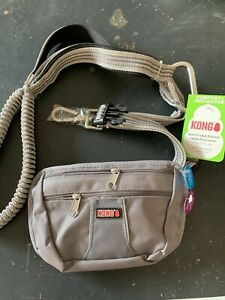 Kong Hands Free Dog Leash with Removable Pouch NEW Gray Grey