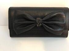 Kate Spade Manor Place Black Milou Bow Clutch Leather Handbag WLRU2715 New