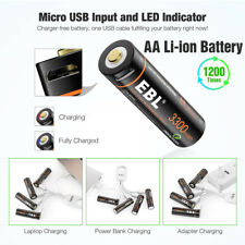 4Pc USB Rechargeable AA Lithium Batteries 1.5V 3300mWh LI-ion + Micro USB Cable