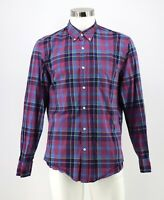 J Crew Button Down Tartan Shirt Size Large Red Blue Yellow Plaid Cotton Men