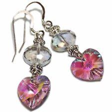 Glitzy Sterling Silver Pink Glass Heart Bead Earrings By SoniaMcD