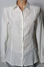 MANGO Bluse Gr. S/M creme-weiß Bluse/Hemd mit zarten Spitzenborten 29% Seide