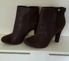 Rocket Dog Burgundy Faux Suede Jolita Rattle Fabric Heeled Ankle Boots Size 7