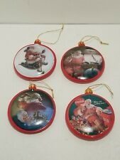Set of 4 Coca Cola Christmas Ornaments 2007 Kurt Adler pre owned Santa
