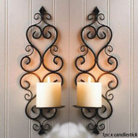 Anti Rust Retro Hanging Wall Wrought Iron Wedding Party Home Decor Candle Holder