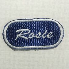 Embroidered Sew on Name Patch Rosie White Thread on Navy Blue Background