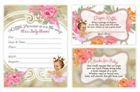 Baby Shower Invitations Girl Diaper Raffles and Book Card Insert Princess QTY 30