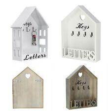 Vintage Natural White Letter Rack & Key Holder Hooks House Storage Wall Mounted