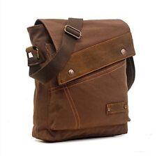 Cotton Canvas Leather Messenger Bag Adjustable Shoulder Strap Comfortable Brown