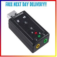 USB External 7.1 Channel 3D Audio Sound Card Adapter For PC Laptop Headphone Mic