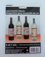 PKT OF 4 HALLOWEEN HORROR PARTY WINE BOTTLE LABELS STICKERS BLOOD