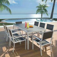 Patio Dining Set Aluminium WPC Garden Outdoor Furniture 8 Chair Seater 9pc Black