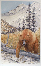Grizzly Bear Art Card Watercolor Picture Alaska Wildlife Mountain Painting