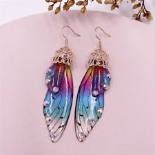 Women Fairy Simulation Insect Butterfly Rainbow Wing Drop Earring Bridal Jewelry